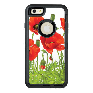 Horizontal border with red poppy OtterBox defender iPhone case