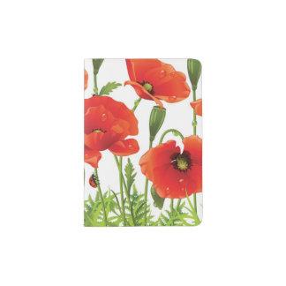 Horizontal border with red poppy passport holder