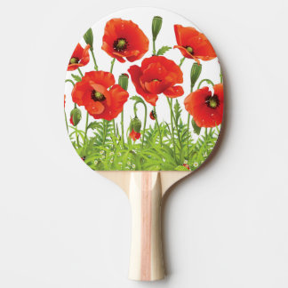 Horizontal border with red poppy ping pong paddle