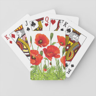 Horizontal border with red poppy playing cards