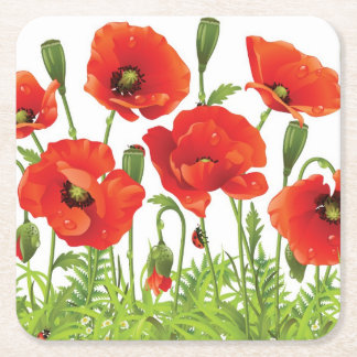 Horizontal border with red poppy square paper coaster