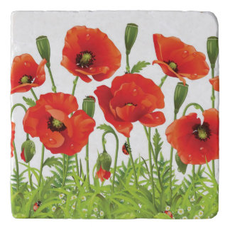 Horizontal border with red poppy trivet