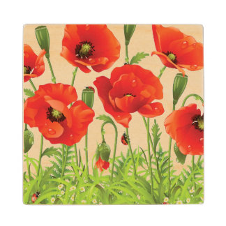 Horizontal border with red poppy wood coaster