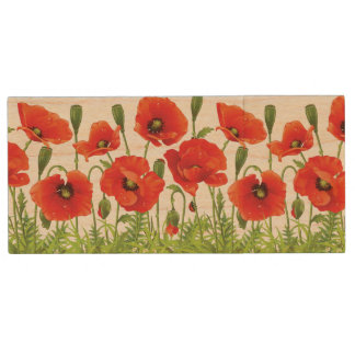 Horizontal border with red poppy wood USB 2.0 flash drive
