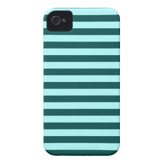 Horizontal Broad Stripes - Celeste and Deep Jungle iPhone 4 Case-Mate Case
