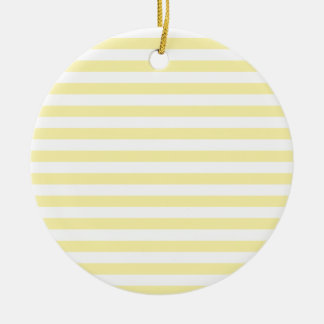 Horizontal Broad Stripes - Light Yellow and Corn Round Ceramic Decoration
