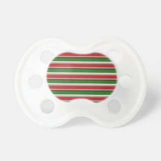 Horizontal Christmas Stripes Baby Pacifiers