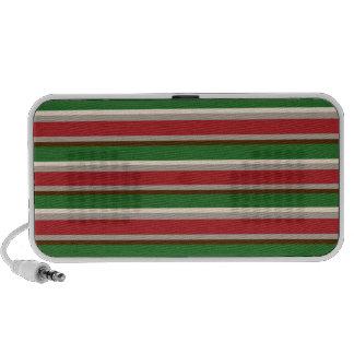 Horizontal Christmas Stripes Doodle Travel Speakers