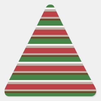 Horizontal Christmas Stripes Triangle Sticker