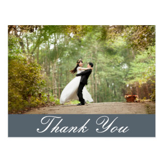 Horizontal Custom Wedding Photo Thank You Postcard