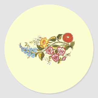 horizontal flowers1 classic round sticker