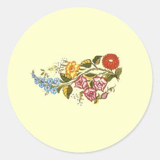 horizontal flowers1 round stickers