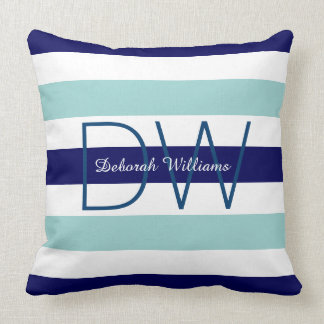 horizontal large blue (2 tones) stripes & monogram cushion