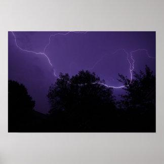 Horizontal Lightning strike Poster