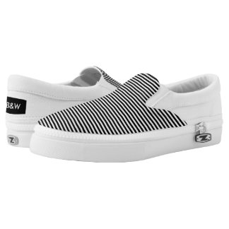 Horizontal line Print Slip-On Shoes
