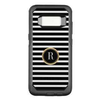 Horizontal Modern Black & White Stripes Monogram OtterBox Commuter Samsung Galaxy S8 Case