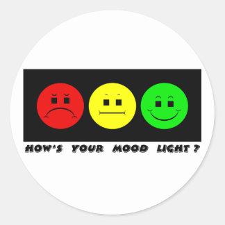 Horizontal Moody Stoplight Mood Light Classic Round Sticker