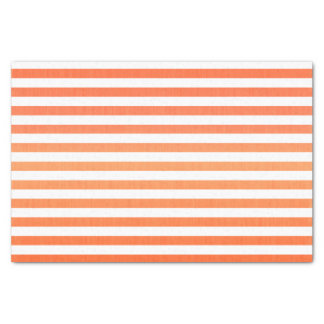 Horizontal Orange and White Stripes Tissue Paper