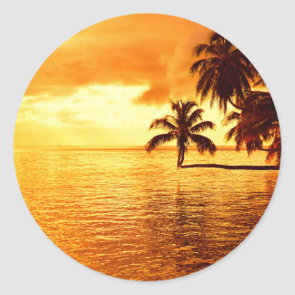 Horizontal palm tree sunset round sticker