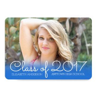 Horizontal Photo Graduation Blue Class of 2017 Card