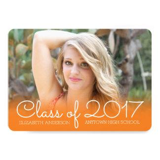 Horizontal Photo Graduation Orange Class of 2017 Card
