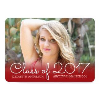 Horizontal Photo Graduation Red Class of 2017 Card
