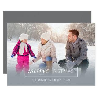 Horizontal Photo Merry Christmas Modern Gray Card