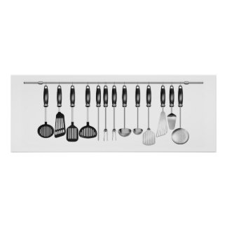 Horizontal set kitchen utensils poster