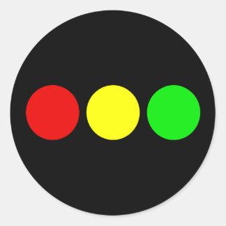 Horizontal Stoplight Classic Round Sticker