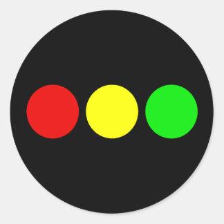Horizontal Stoplight Round Sticker