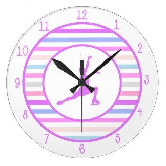 Horizontal Stripe Figure Skating in Pastel Colors Large Clock