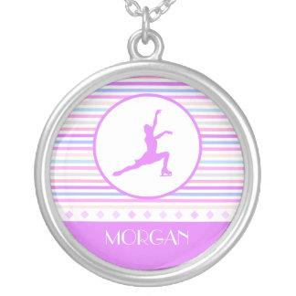 Horizontal Stripe Figure Skating with Monogram Round Pendant Necklace