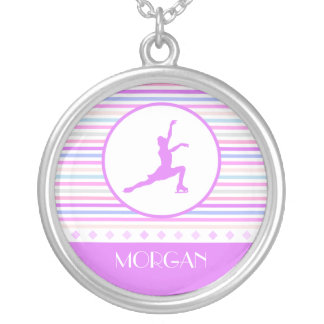 Horizontal Stripe Figure Skating with Monogram Silver Plated Necklace