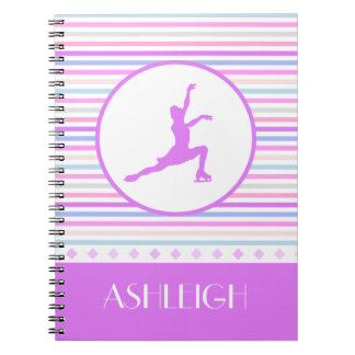 Horizontal Stripe Figure Skating with Monogram Spiral Notebook