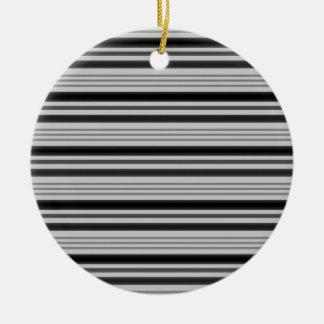 Horizontal Stripes 4 - Grey & Black Christmas Ornaments