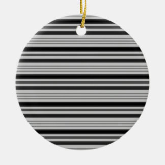 Horizontal Stripes 4 - Grey & Black Round Ceramic Decoration