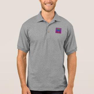 Horizontal Stripes Art Square Purple Polo T-shirt