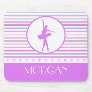 Horizontal Stripes Ballerina Dancer with Monogram Mouse Pad