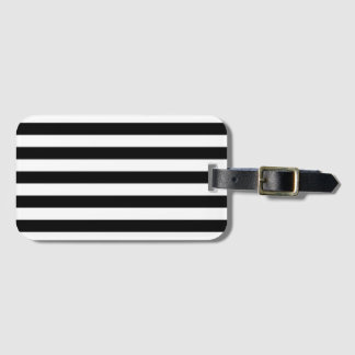 Horizontal Stripes in Black and White Luggage Tag