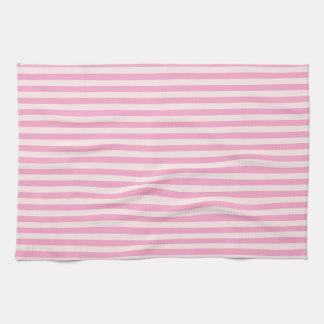 Horizontal Stripes - Pale Pink and Carnation Pink Tea Towel