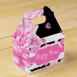 Horizontal Stripes Pink Floral Watercolor Birthday Party Favour Box