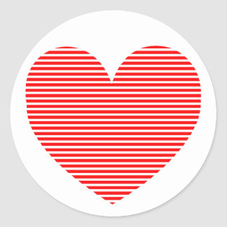Horizontal Stripes Red Heart Round Stickers