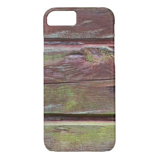 Horizontal timber wall with green mold iPhone 7 case
