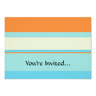 "Horizontal Tonal Stripes in Soft Blue and Orange 5"" X 7"" Invitation Card"