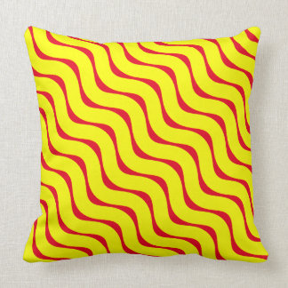 Horizontal Yellow and Burnt Red Wavy Lines Cushion