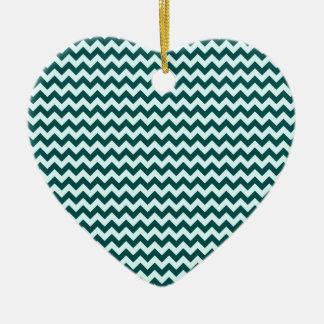 Horizontal Zigzag Wide-Celeste and DeepJungleGreen Ceramic Heart Decoration