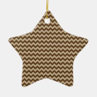 Horizontal Zigzag Wide - Khaki and Dark Brown Ceramic Star Decoration