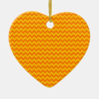 Horizontal Zigzag Wide - Orange and Amber Ceramic Heart Decoration