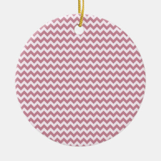 Horizontal Zigzag Wide - Pink Lace and Puce Christmas Ornament