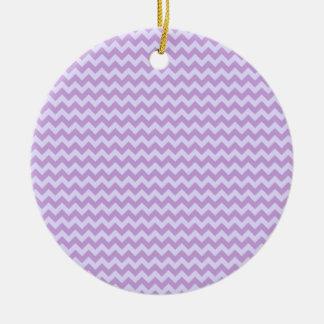 Horizontal Zigzag Wide-Wisteria and Pale Lavender Round Ceramic Decoration